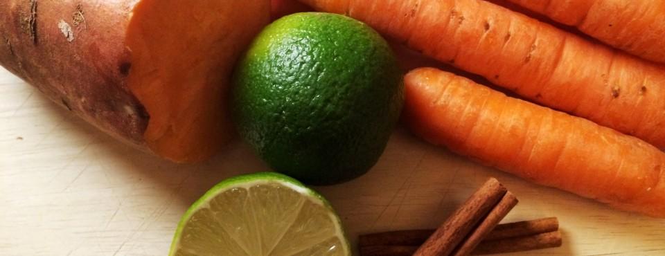 Recette originale :Velouté de Légumes racines épicé et citronné